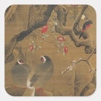 早い春の鳥そして花 スクエアシール