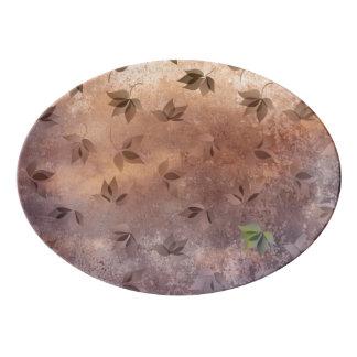 早い錆ついた秋の落ちる憂うつな葉 磁器大皿