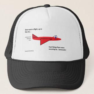 早く飛行Flynn飛行中の赤いジェット機の飛行機 キャップ
