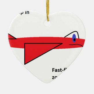早く飛行Flynn飛行中の赤いジェット機の飛行機 セラミックオーナメント