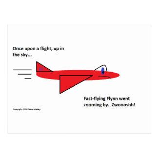 早く飛行Flynn飛行中の赤いジェット機の飛行機 ポストカード