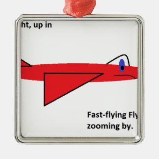 早く飛行Flynn飛行中の赤いジェット機の飛行機 メタルオーナメント