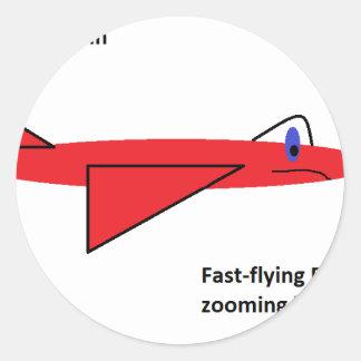 早く飛行Flynn飛行中の赤いジェット機の飛行機 ラウンドシール