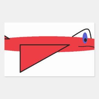 早く飛行Flynn飛行中の赤いジェット機の飛行機 長方形シール