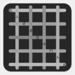 早九字(灰色) 正方形シール・ステッカー
