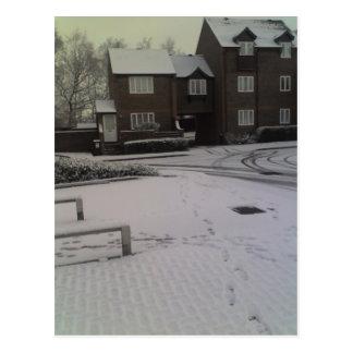 早朝の雪、Tonbridge 24-01-07 08.22am ポストカード