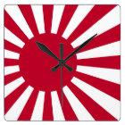 旭日旗の壁掛け時計 スクエア壁時計