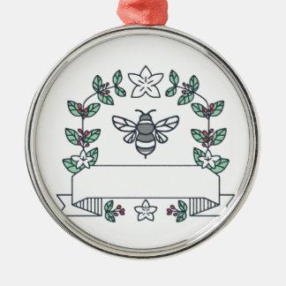 《昆虫》マルハナバチのコーヒーはさくらんぼの花にモノラルラインを去ります メタルオーナメント