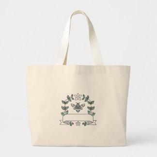 《昆虫》マルハナバチのコーヒーはさくらんぼの花にモノラルラインを去ります ラージトートバッグ