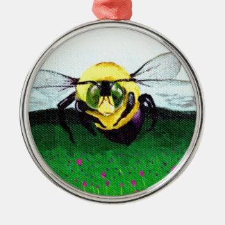 《昆虫》マルハナバチの芸術 シルバーカラー丸型オーナメント