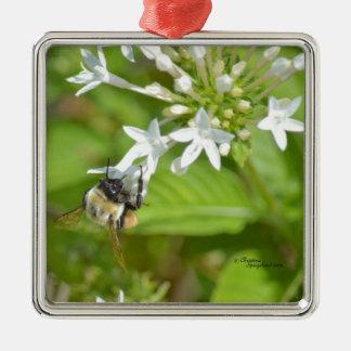 《昆虫》マルハナバチ及び花 シルバーカラー正方形オーナメント