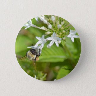 《昆虫》マルハナバチ及び花 5.7CM 丸型バッジ