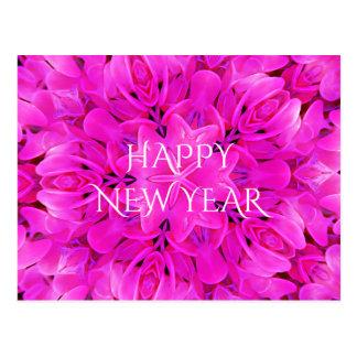 明けましておめでとうのショッキングピンクの万華鏡のように千変万化するパターンのデザインの花柄 ポストカード