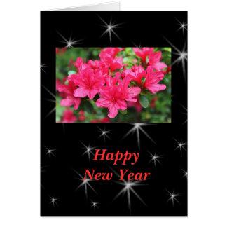 明けましておめでとうのピンクのツツジの花 カード
