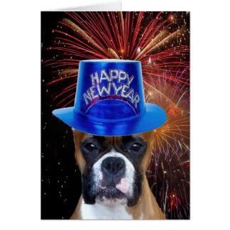 明けましておめでとうのボクサー犬の挨拶状 カード