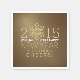 明けましておめでとうのモダンな金ゴールドの雪片の休日のパーティ スタンダードカクテルナプキン