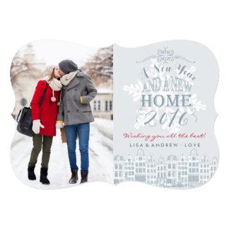 明けましておめでとうの新しい家|の休日の写真カード カード