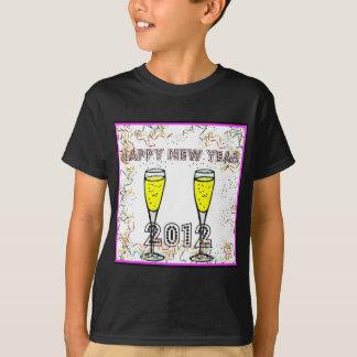 明けましておめでとうの2012年のシャンペンのトーストのプリント Tシャツ