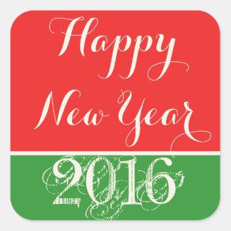 明けましておめでとう2016の赤い緑のステッカー スクエアシール