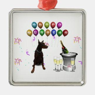 明けましておめでとう2016年を望んでいる(犬)ドーベルマン・ピンシェル メタルオーナメント