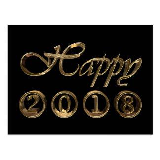 明けましておめでとう2018年のエレガントで黒い金ゴールドのタイポグラフィ ポストカード