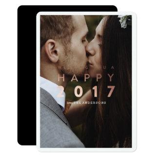 明けましておめでとう! |の新年の金ゴールドの休日の写真カード 12.7 X 17.8 インビテーションカード