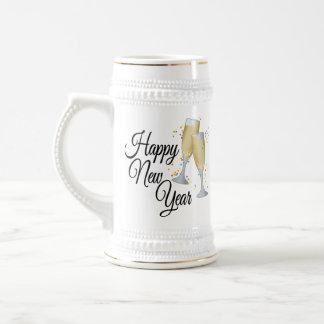 明けましておめでとうIシャンペンガラス ビールジョッキ