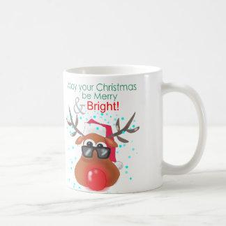 明るいゆっくり進られたトナカイ コーヒーマグカップ