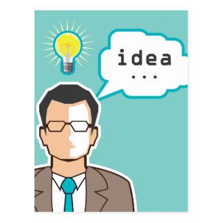 明るいアイデアマンのベクトルイラストレーション ポストカード