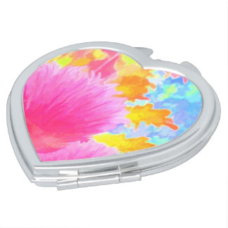 明るいアサツキのイメージのハートの形のコンパクトの鏡