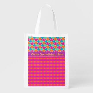 明るいイスラム教パターンおよび点検の買い物袋 エコバッグ