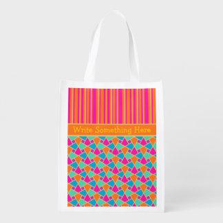 明るいイスラム教パターンストライプでカスタムな買い物袋 エコバッグ