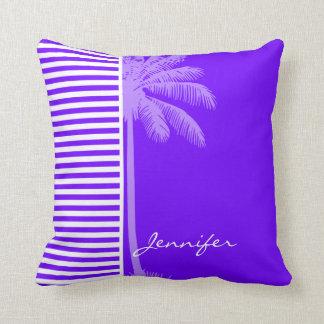 明るいインディゴ、バイオレットの、紫色及び白のストライプのやし クッション