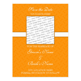 明るいオレンジの保存日付の郵便はがき ポストカード