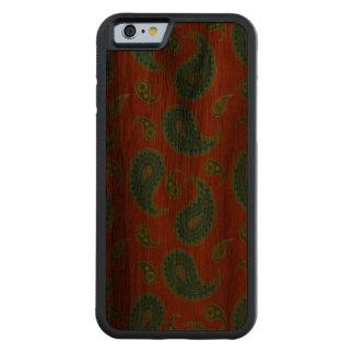 明るいオレンジの青緑色のペイズリー CarvedウォルナッツiPhone 6バンパーケース