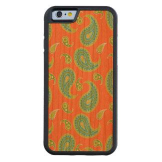 明るいオレンジの青緑色のペイズリー CarvedチェリーiPhone 6バンパーケース