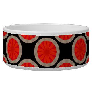 明るいオレンジ円パターン ドッグボウル