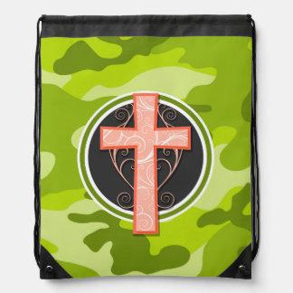 明るいオレンジ十字; 緑の迷彩柄、カムフラージュ ナップサック
