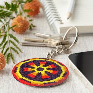 明るいオレンジ明るく黄色い車輪のかぎ針編みのプリント キーホルダー