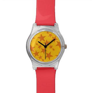 明るいオレンジ星の腕時計 腕時計