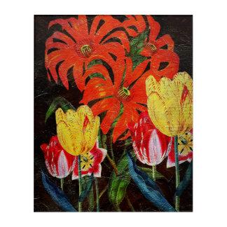 明るいオレンジ植物のヴィンテージの油絵 アクリルウォールアート