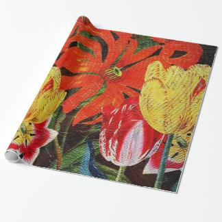 明るいオレンジ植物のヴィンテージの油絵 包み紙
