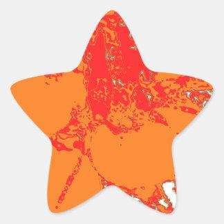 明るいオレンジ花のダリアの花模様 星シール