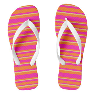 明るいオレンジ黄色およびショッキングピンクの縞模様 ビーチサンダル