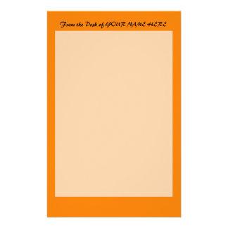 明るいオレンジDIYのカスタムな背景のテンプレート 便箋