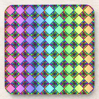 明るいカラフルのステンドグラスのスタイルパターン コースター