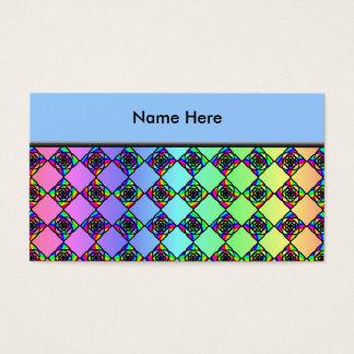 明るいカラフルのステンドグラスのスタイルパターン 名刺