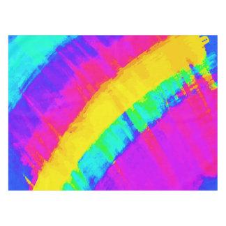 明るいカラフルの抽象芸術ブラシストローク虹 テーブルクロス