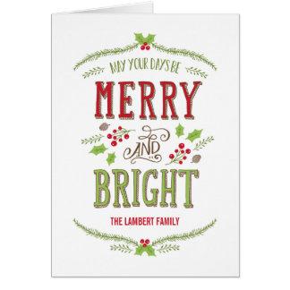明るいクリスマスの休日の挨拶状 カード