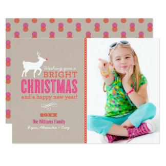 明るいクリスマスは写真カード|砂を望みます 12.7 X 17.8 インビテーションカード
